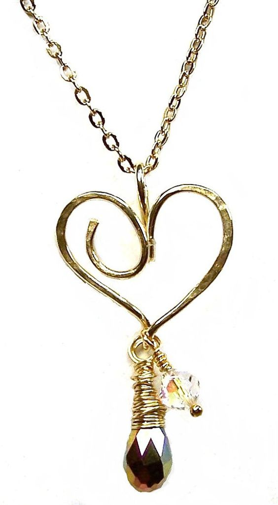 Hammered Gold Heart Charm Holder Pendant Necklace by ShesSoWitte, $20.00