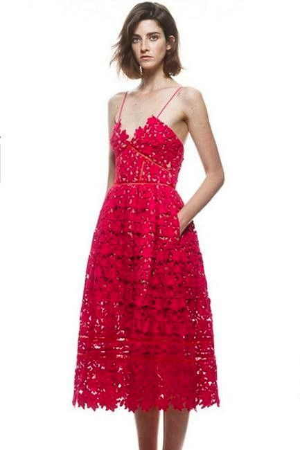 Red Lace Cocktail Dress - Dresses 2017