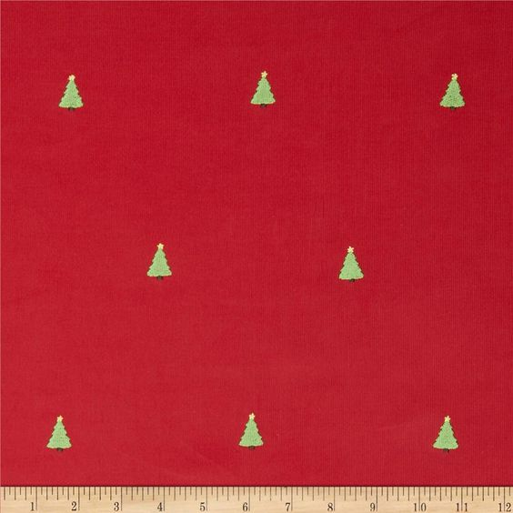 Embroidered 21 wale corduroy tree red green trees home for Kids corduroy fabric