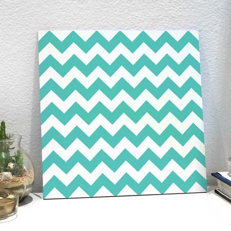 Placa decorativa - Chevron Turquesa