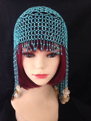 #Vintage style turquoise coloured beaded #flapper 20s headpiece hat #fancy dress, View more on the LINK: http://www.zeppy.io/product/gb/2/272343091863/