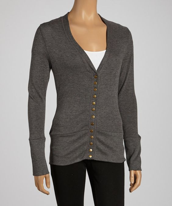 Look at this Charcoal Stud-Button Cardigan on #zulily today!