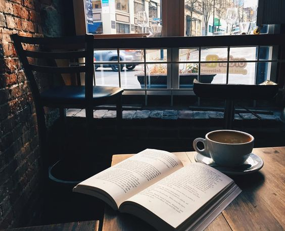 "sweptawaybbooks: "" Look at this dreamy lighting  add in a perfect latte and o have found my reading spot for the afternoon  . . (at Brioche Urban Eatery and Catering) """