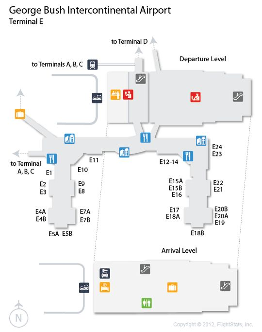 IAH George Bush Intercontinental Airport Terminal Map Airports - Houston terminal map