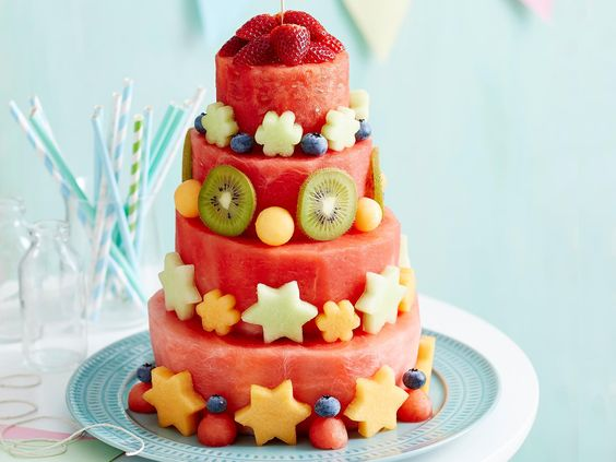 "This impressive watermelon cake from The Australian Women's Weekly's '[Superfoods For Babies And Toddlers](https://www.magshop.com.au/the-australian-womens-weekly-superfoods-for-babies-and-toddlers|target=""_blank"")' cookbook is a fun addition to kids' parties and a healthy alternative to a classic chocolate cake."