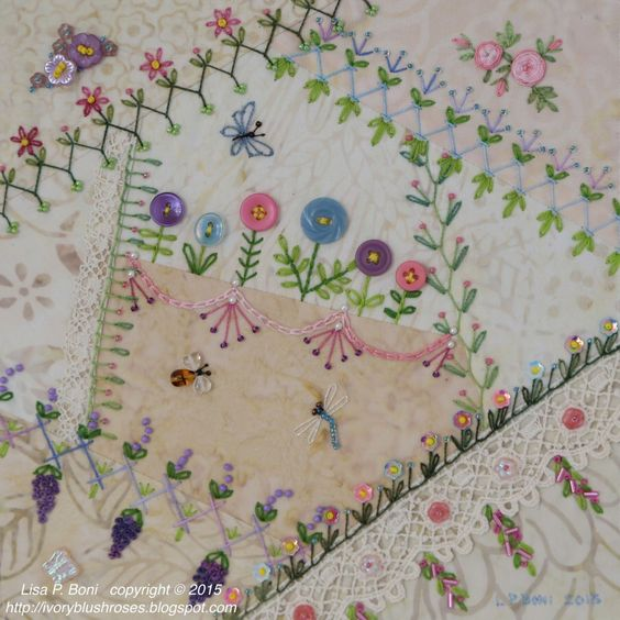 Crazy quilting summer garden and ribbon embroidery on