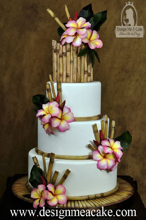 Check out http://designmeacake.com!  Beautiful Cake design using Gumpaste Bamboo, gumpaste plumeria flowers and tropical leaves. Design by Edna De la Cruz from Design Me a Cake