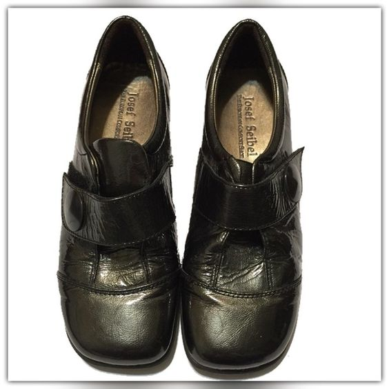 """Josef Seibel """"Kathrin"""" Womens Size 8-8.5US / 39EU Excellent pair of Josef Seibel """"Kathrin"""" shoes.  Near new was only used for display in Nordstrom's, patent leather uppers, Velcro closure at instep.                                     Measurement is  8-8.5US / 39EU Authentic patent leather upper and eye-catching instep strap move your stilettos to the back of the closet. Cushioned leather footbed. *k Josef Seibel Shoes"""