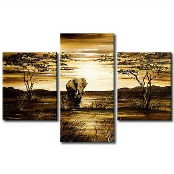 The African Elephant 3pc Hand Painted Canvas Wall DECOR Wall Art Oil Painting  #ArtDeco