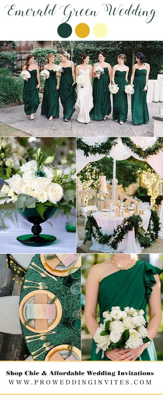 Jewel Toned Emerald Wedding Color Ideas