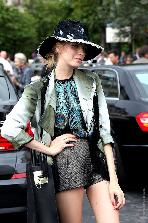 Elena Perminova : the jacket, the top, the shorts, the hat - ahh, perfection!