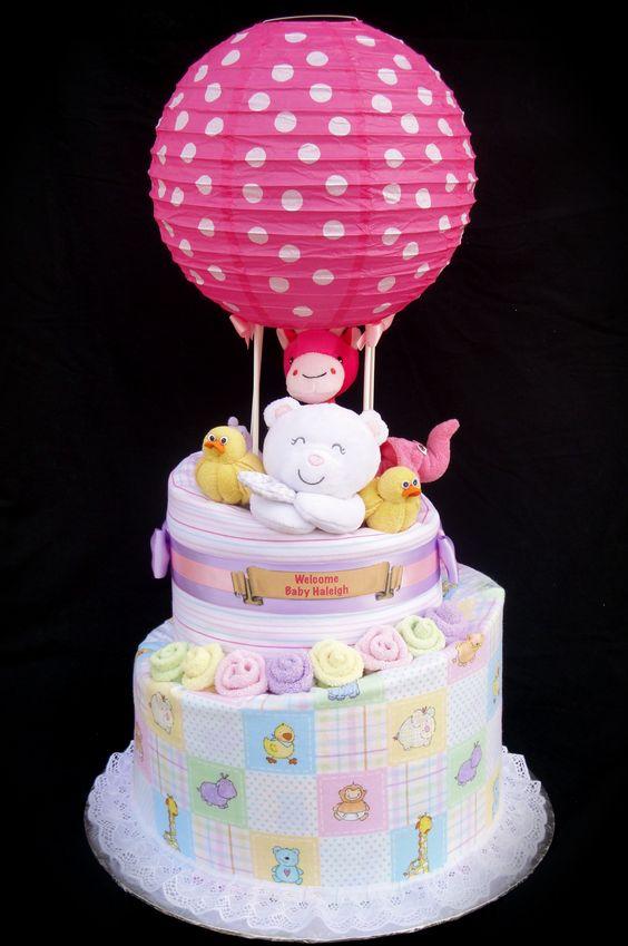 hot air balloon diaper cake baby gift ideas pinterest. Black Bedroom Furniture Sets. Home Design Ideas