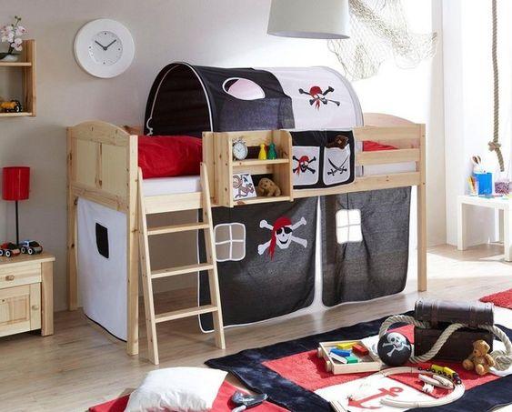 Hochbett Eric Mit Rolllattenrost Und Textil Set Kinder Bett