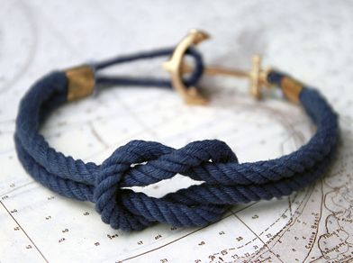 rope bracelet with anchor clasp.