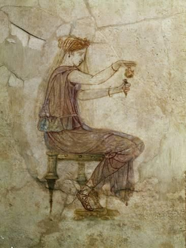 Photographic Print: Woman Pouring Perfume into Flask, Fresco Poster : 24x18in