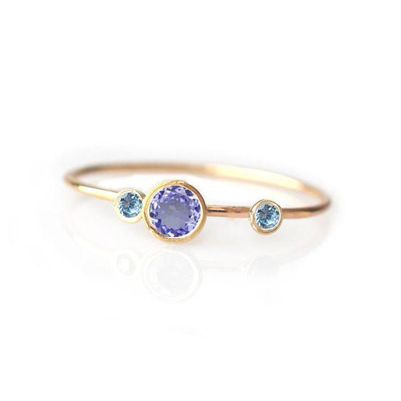 14kt Gold Tanzanite And Aquamarine Adele Ring Gold Tanzanite Ring Tanzanite And Aquamarine Ring Tanzanite Ri Aquamarine Engagement Ring Jewelry Gold Jewelry