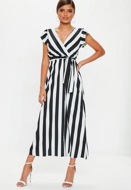 Czarno Biala Sukienka Maxi W Paski Black White Maxi Dress Striped Dress Outfit Striped Dress Summer