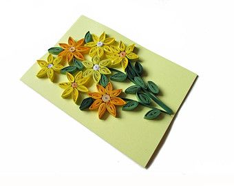Quilling Card with Quilled Yellow Posies, Yellow Quilling Card, Thanksgiving Card