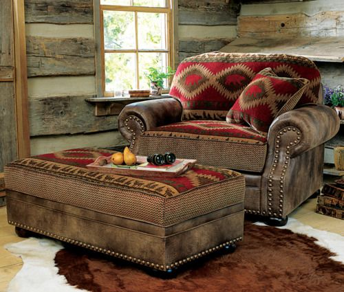 : Log Home, Western Chair, Rustic Chair, Cozy Cabin, Living Room, Western Furniture, Western Decor