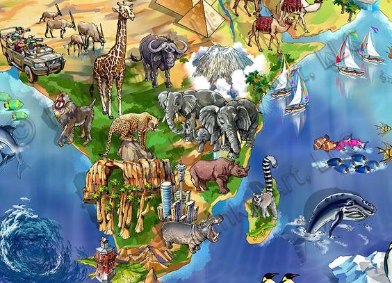 World Map Illustration detail Africa by Maria Rabinky – Map of the World in Detail