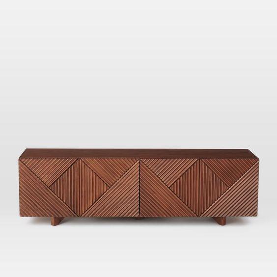Тумба под ТВ с деревянными рейками