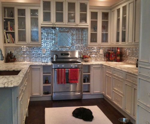 Tin+Backsplash+For+Kitchen | ... Tin Ceiling Xpress, Inc., Tin Ceiling Tiles  For High Quality Tin | Home Decor And Inspiration | Pinterest | White  Cupboards ...