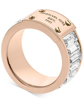 Michael Kors Ring, Rose Gold-Tone Plaque and Crystal Baguette Ring - Michael Kors