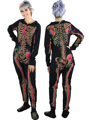 Electric Skeleton Footie Pajamas | fun footed pajamas | Pinterest ...
