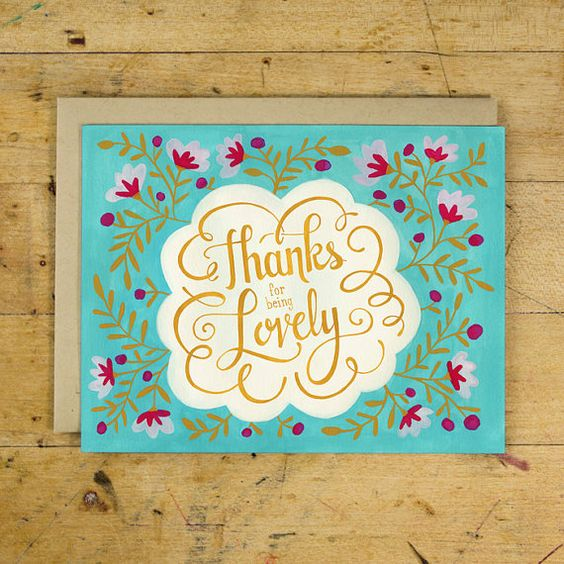 Thanks for Being Lovely | Thank You Greeting Card | Hand Lettered | Turquoise | Floral Pattern | Box Set of 8 | A2 |  Made in USA | BC 018