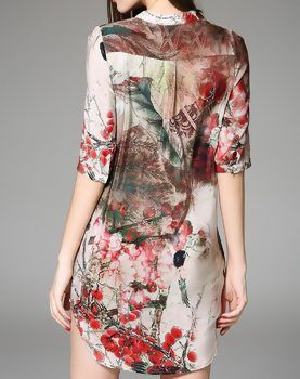 Red Short Sleeve Floral Print Silk Mini Dress