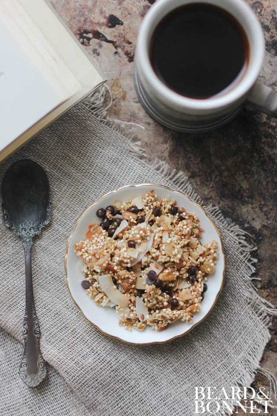 Chocolate Chip and Toasted Coconut Quinoa Granola  by Beard and Bonnet #glutenfree #dairyfree