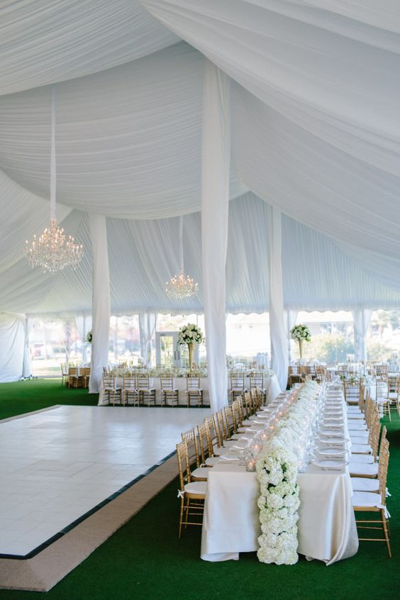 Glamorous + all-white tented reception: http://www.stylemepretty.com/2016/06/30/a-wedding-that-proves-going-green-can-be-oh-so-chic/ | Photography: Kallima Photography - http://www.kallimaphotography.com/
