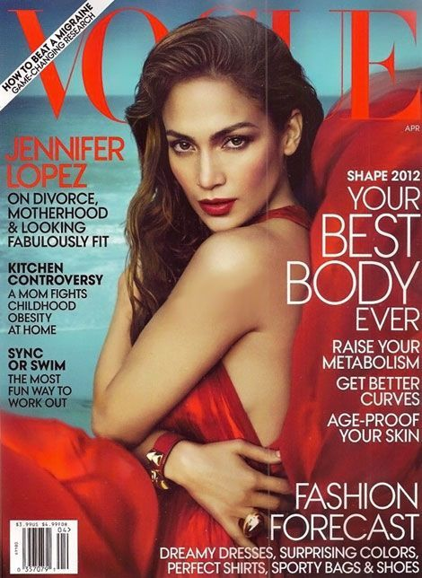 Jennifer Lopez is red hot on Vogue Magazine's April cover