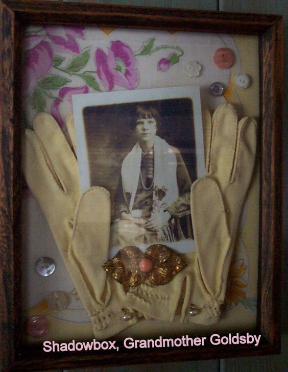 A celebration of favorite family items in shadow box, background handkerchief from Aunt, photo of Grandmother, gloves from Mom, with broche and a few buttons! Ancestry, Heritage, Picture, Photo, Shadow Box
