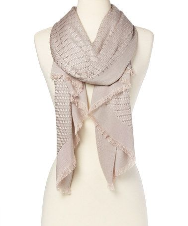 Look at this #zulilyfind! Taupe Grid Fringe Scarf #zulilyfinds