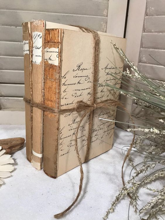 Fall Decorations French script rustic books old french | Etsy