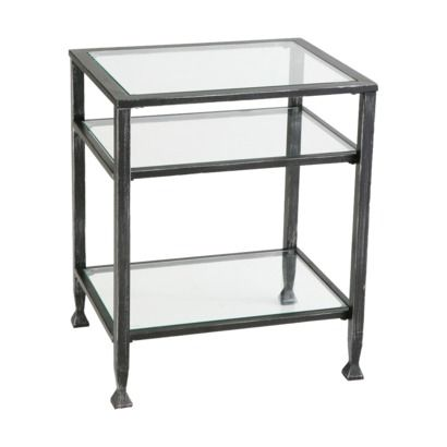 distressed metal end table