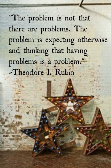 The problem is not that there are problems. The problem is expecting otherwise and thinking that having problems is a problem. - Theodore Rubin Quote