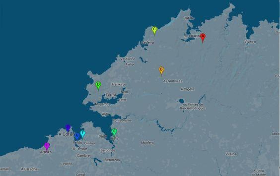 Mapa de la Etapa 17 de #LaVuelta 2014. Salida desde #Ortigueira, pasando por #Outeiro, #Cedeira, #Ferrol, #Mino, #Coruxo de Arriba, #Perillo, #ACoruna, #Arteixo y se volverá de nuevo hasta A Coruña.