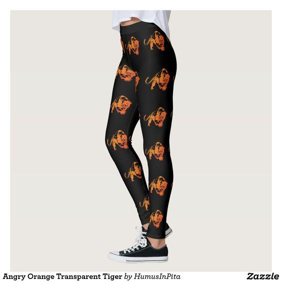 Angry Orange Transparent Tiger Leggings