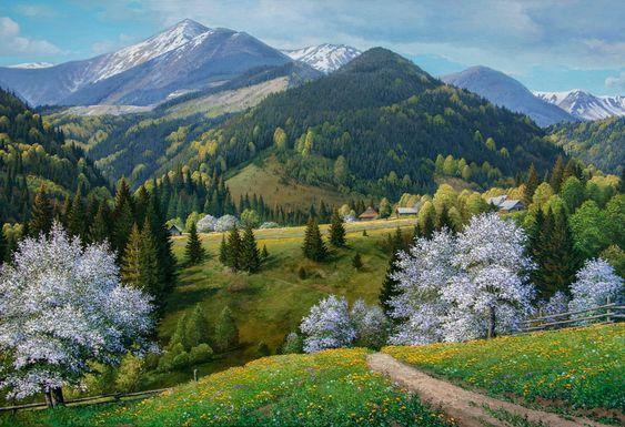Large Oil Painting 39 3 X 27 5 Spring Mountains Carpathian Forest Forest Landscape Painting Original Realism Painting Spring Forest Large