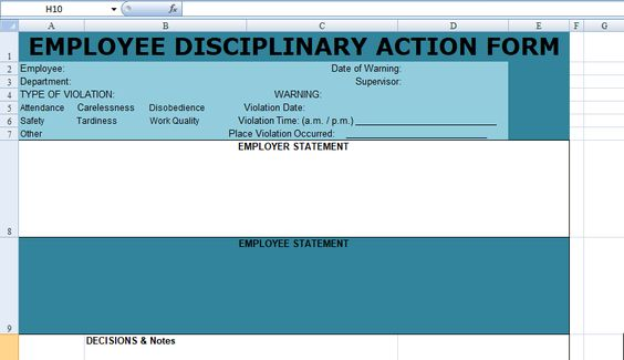 Get Employee Disciplinary Action Form Spreadsheet u2013 Excel - employee discipline form