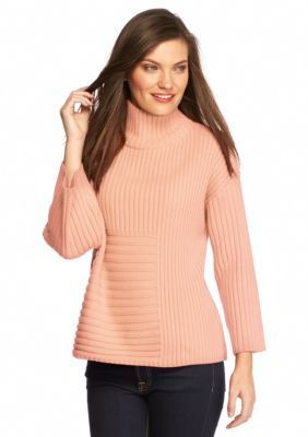Vince Camuto  Mix Rib Mock Neck Sweater