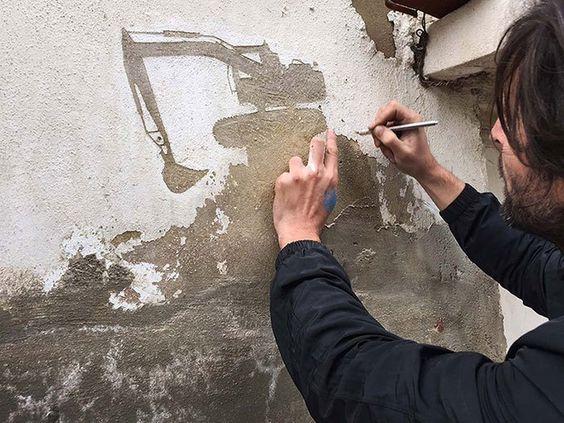 Una de las ultimas creaciones de Pejac es una serie e intervenciones que tienen como lienzo las paredes de Al-Hussein, un refugio para Palestinos en Amán,