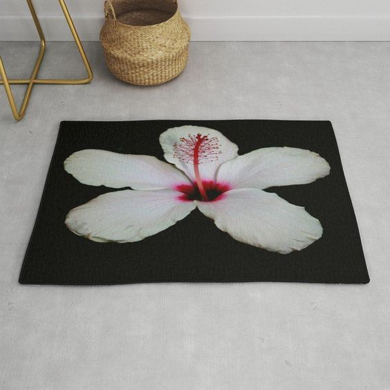 Whitehibiscusonblack Rug By Taiche Society6 Oneofakind Rug Designs On Woven Polyester Chenille For A Soft And Textured Loo In 2020 White Hibiscus Hibiscus Woven