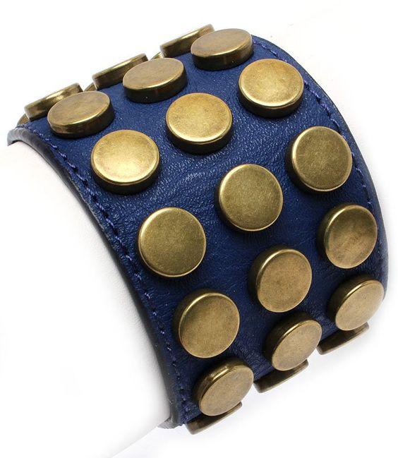 Leather Style Navy Blue Brass Studs Bracelet Wrap Cuff Armor Rivets Chunky Statement Unisex