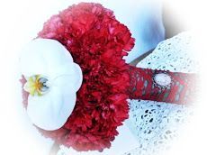 Wedding flowers in Chicago great area Florist in Arlington Heights, Palatine, IL phone: 224-409-3937  Flowers emotion by Geo Tudosescu   vintage bouquet red carnations lace white orchid cameo brooch