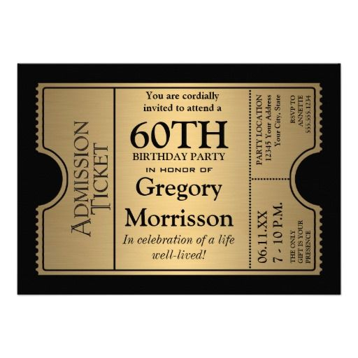 Golden Ticket Style 60th Birthday Party Invite