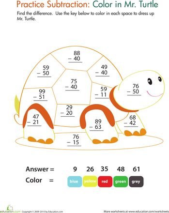 math worksheet : color by number practice two digit subtraction 9  color by  : Addition Of 2 Digit Numbers Worksheet