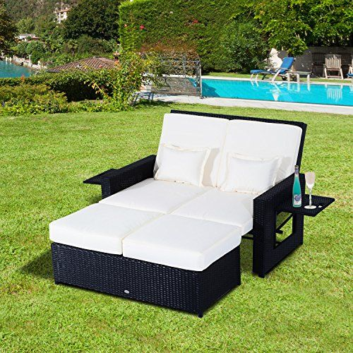 outsunny garden rattan furniture outdoor 2 seater sofa sun lounger patio daybed love sunbed fire retardant
